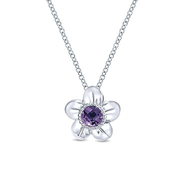 925 Sterling Silver Round Amethyst Flower Pendant Necklace