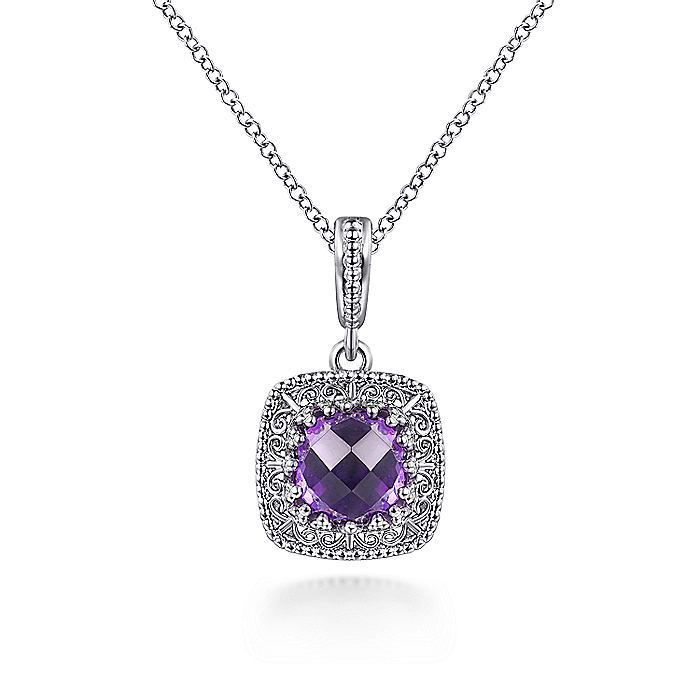 925 Sterling Silver Round Amethyst with Filligree Frame Pendant Necklace