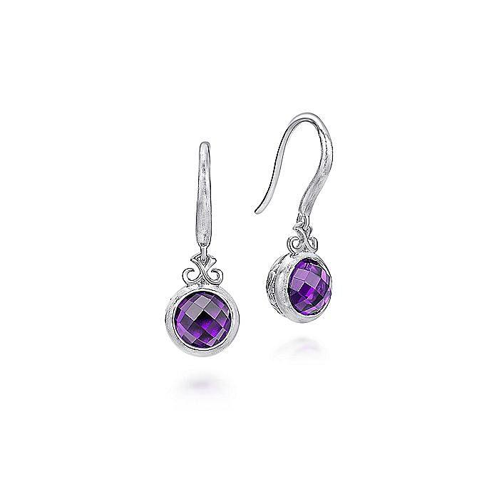 925 Sterling Silver Round Bezel Amethyst Drop Earrings