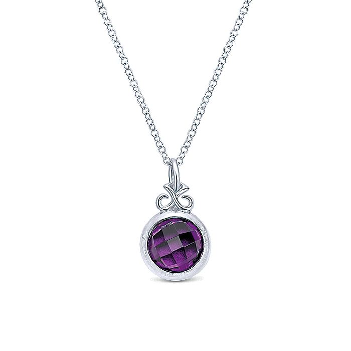 925 Sterling Silver Round Bezel Set Amethyst Pendant Necklace