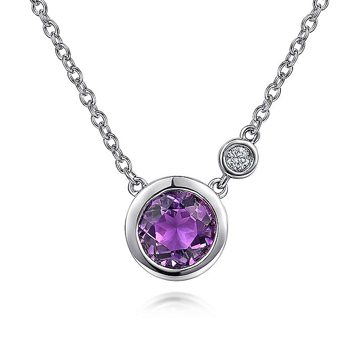 925 Sterling Silver Round Bezel Set Amethyst and Diamond Pendant Necklace