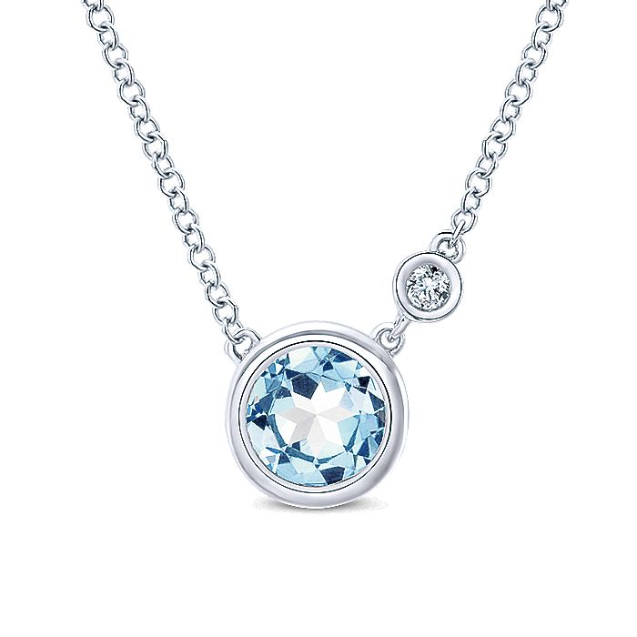 925 Sterling Silver Round Bezel Set Aquamarine and Diamond Pendant Necklace
