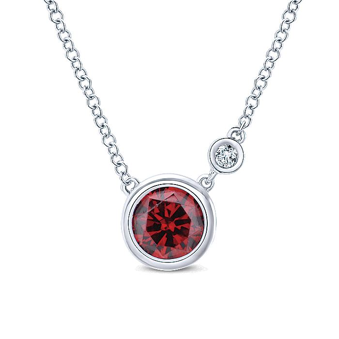 925 Sterling Silver Round Bezel Set Garnet and Diamond Pendant Necklace