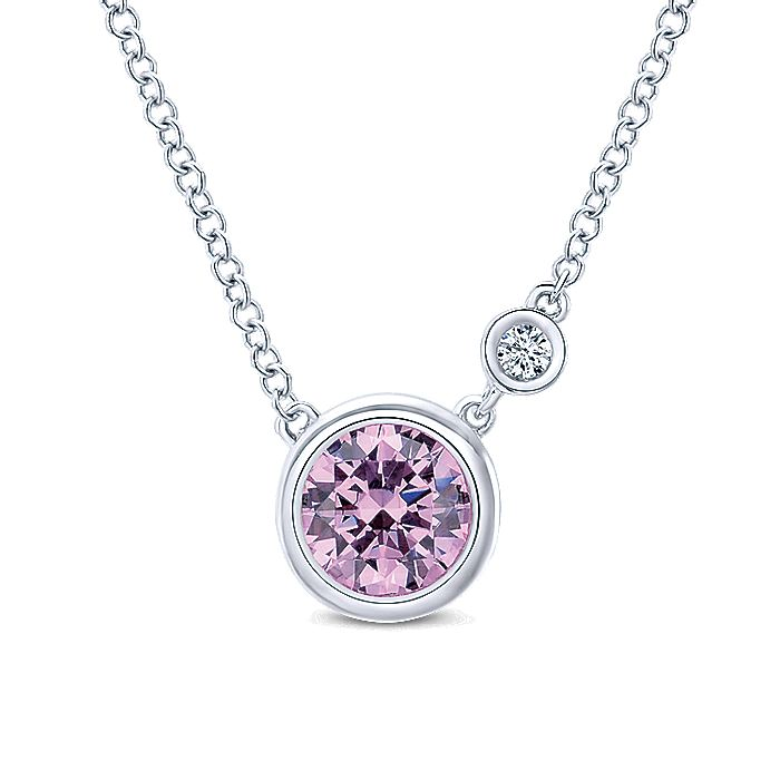 925 Sterling Silver Round Bezel Set Pink Created Zircon and Diamond Pendant Necklace