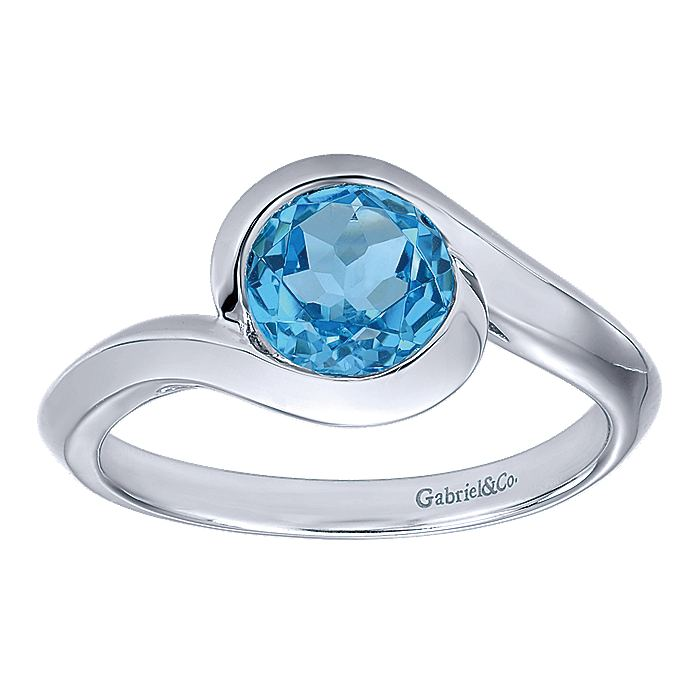925 Sterling Silver Round Blue Topaz Bypass Ring