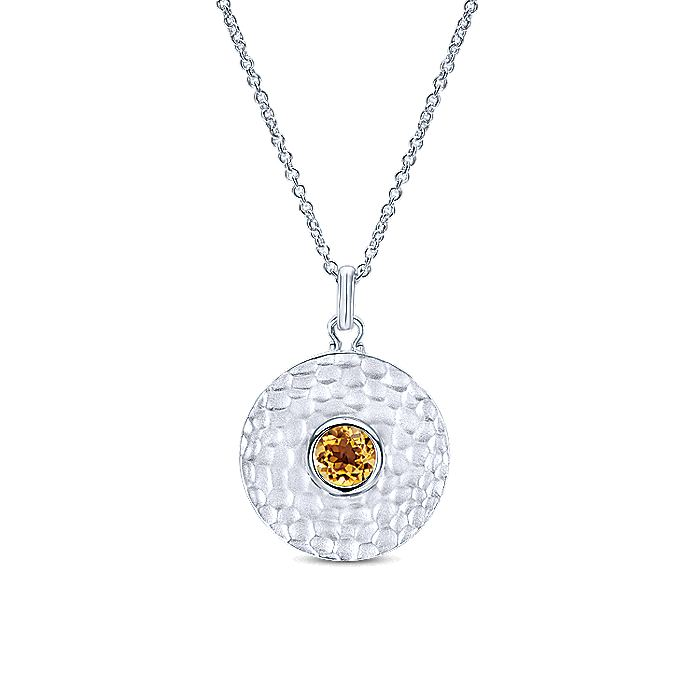 925 Sterling Silver Round Citrine Hammered Pendant