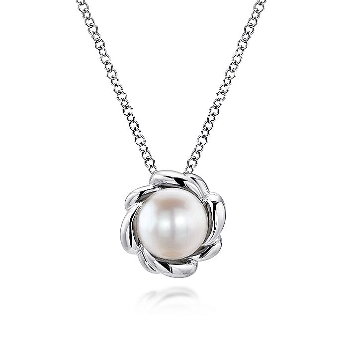 925 Sterling Silver Round Cultured Pearl Pendant Necklace