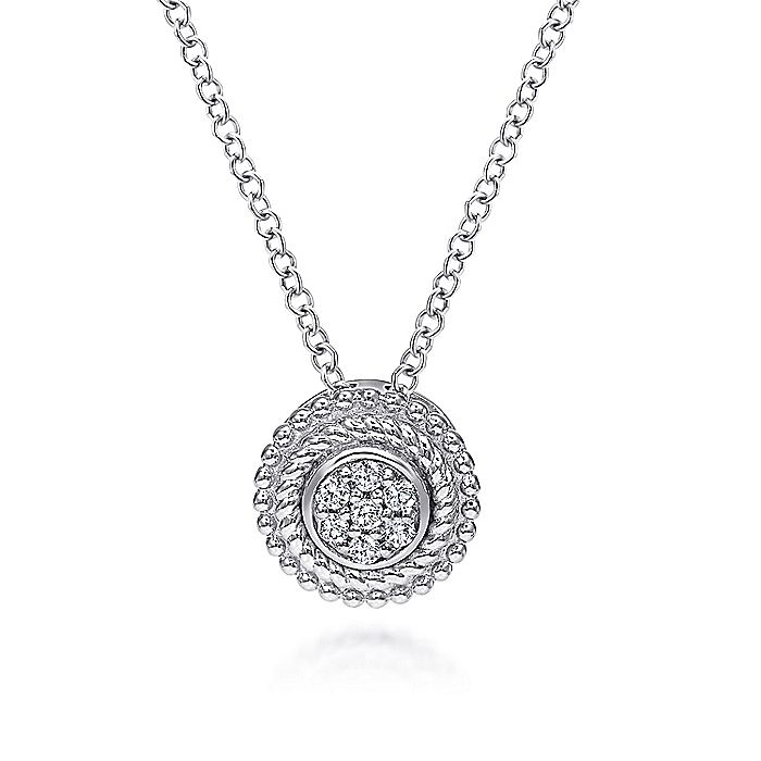 925 Sterling Silver Round Diamond Cluster Pendant Necklace