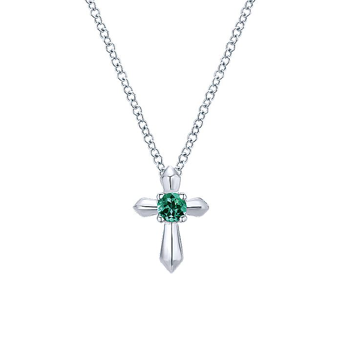 925 Sterling Silver Round Emerald Cross Necklace