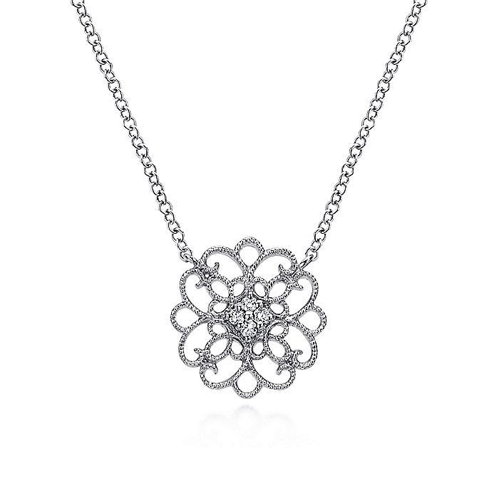 925 Sterling Silver Round Fillilgree White Sapphire Pendant Necklace