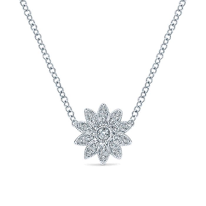 925 Sterling Silver Round Floral White Sapphire Pendant Necklace