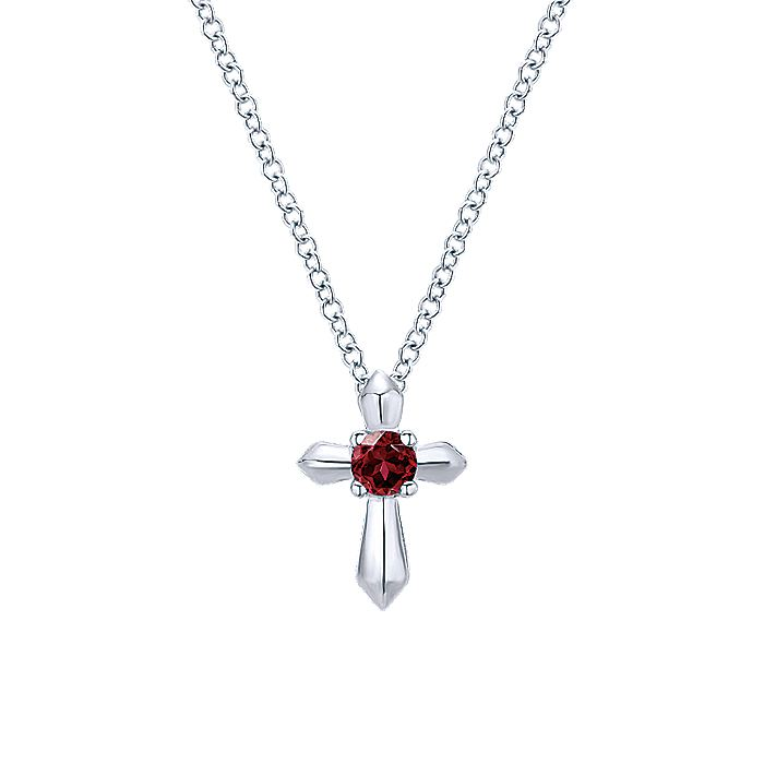 925 Sterling Silver Round Garnet Cross Necklace