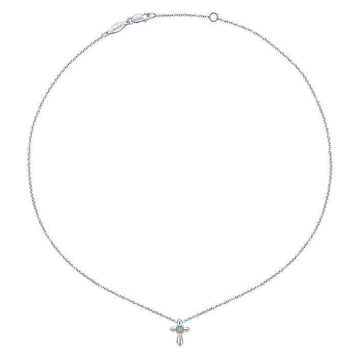 925 Sterling Silver Round Opal Cross Necklace