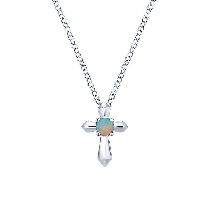 925 Sterling Silver Round Opal Cross Pendant Necklace