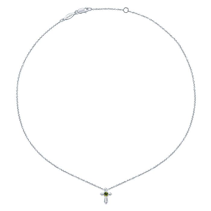 925 Sterling Silver Round Peridot Cross Necklace