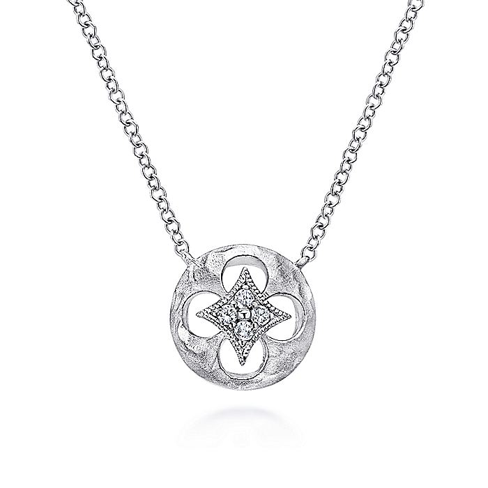 925 Sterling Silver Round Quatrefoil Cutout Pendant Necklace with Diamonds