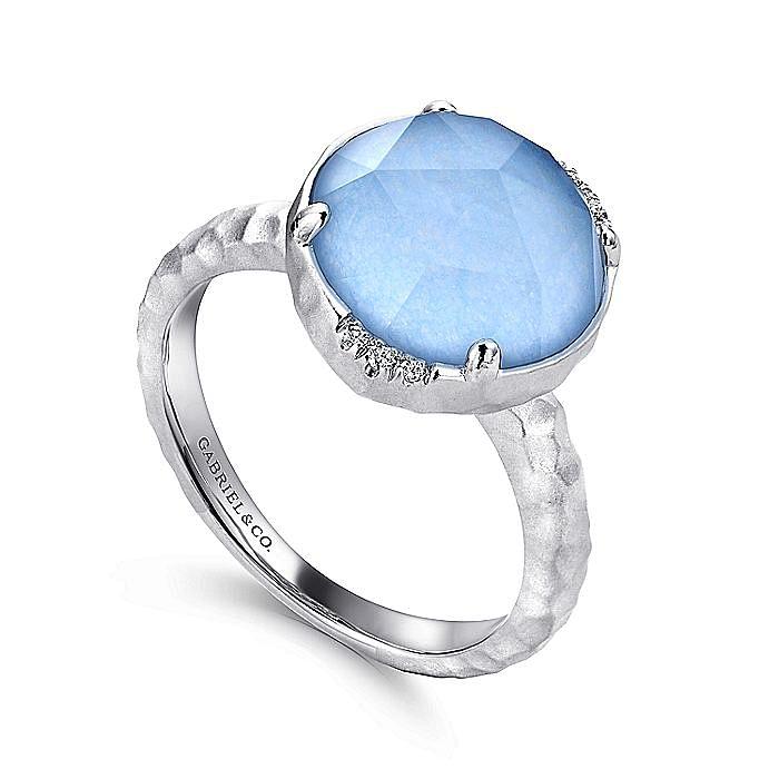 925 Sterling Silver Round Rock Crystal / Blue Jade Ladies Ring