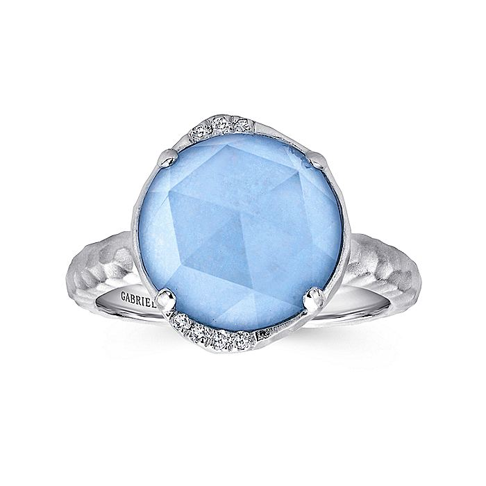 925 Sterling Silver Round Rock Crystal/Blue Jade and Diamond Ring