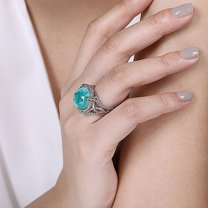 925 Sterling Silver Round Rock Crystal/MOP/Green Onyx Ring with Twisted Rope Halo