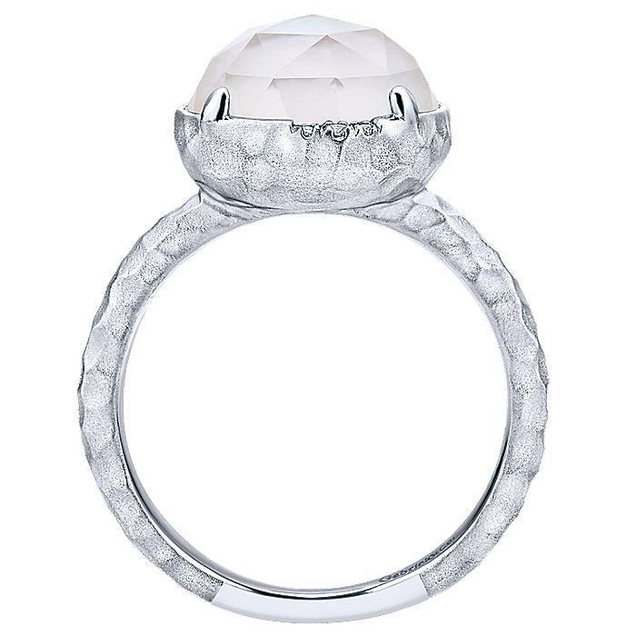 925 Sterling Silver Round Rock Crystal/MOP and Diamond Ring