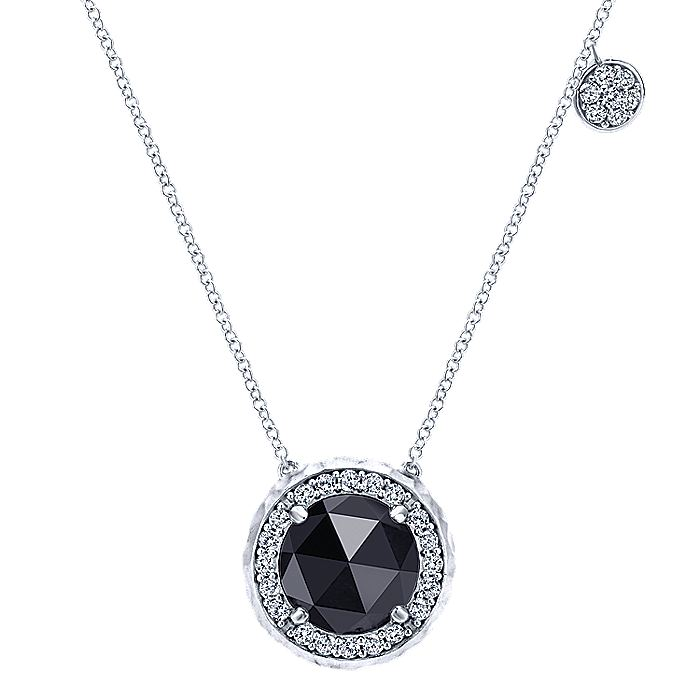 925 Sterling Silver Round Rock Crystal/Onyx and White Sapphire Halo Pendant Necklace