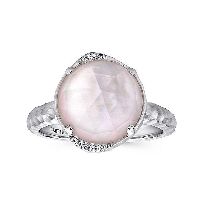925 Sterling Silver Round Rock Crystal/Pink MOP and Diamond Ring