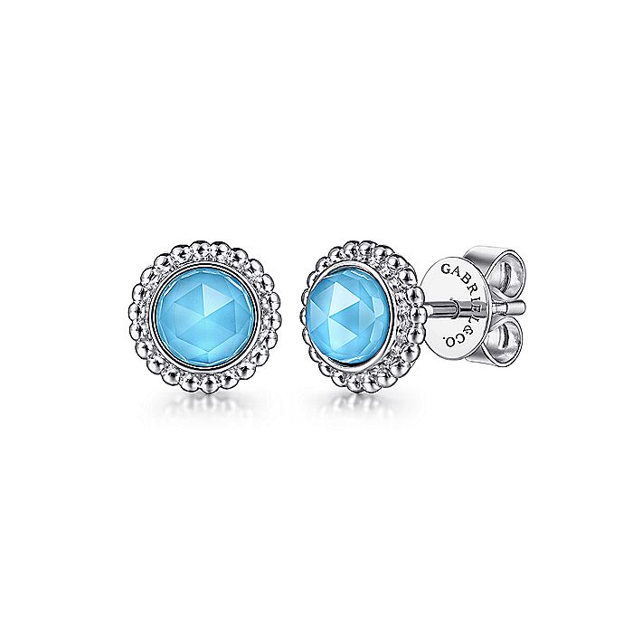 925 Sterling Silver Round Rock Crystal/Turquoise Stud Earrings