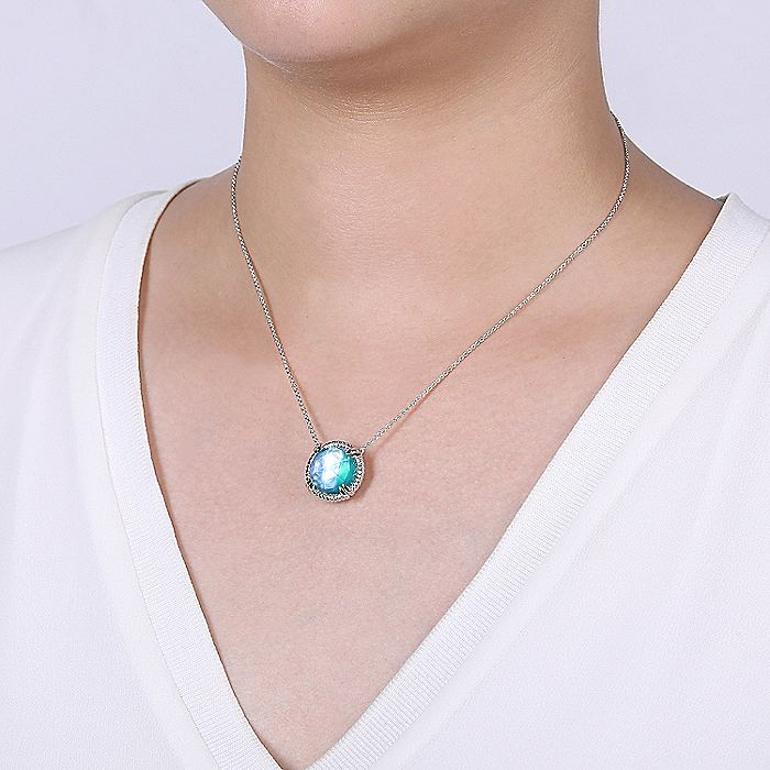 925 Sterling Silver Round Rock Crystal/White MOP/Green Onyx Doublet Pendant Necklace