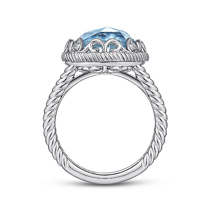 925 Sterling Silver Round Rock Crystal/White MOP/Turquoise Ring with White Sapphire