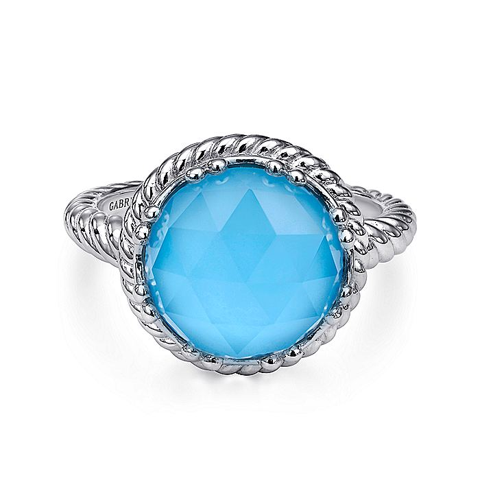 925 Sterling Silver Round Rock Crystal and Turquoise Ladies Ring