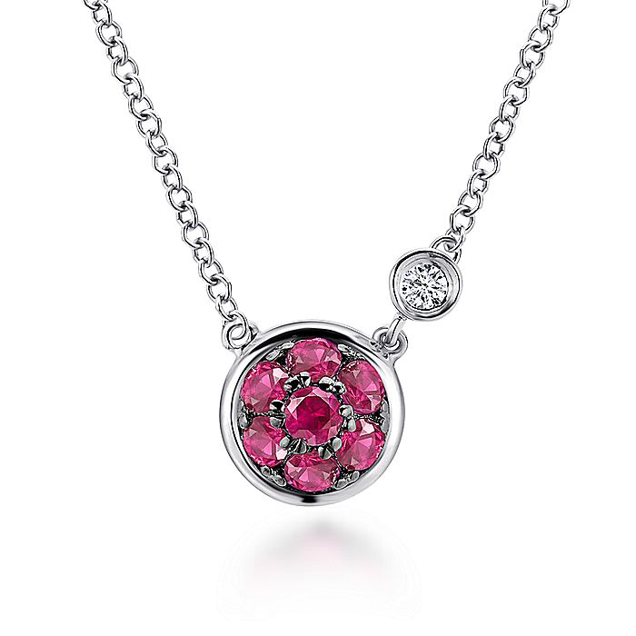 925 Sterling Silver Round Ruby Cluster Pendant Necklace with Side Bezel Diamond