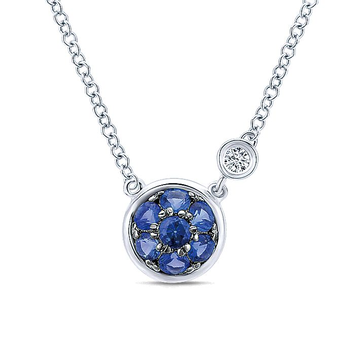 925 Sterling Silver Round Sapphire Cluster Pendant Necklace with Side Bezel Diamond