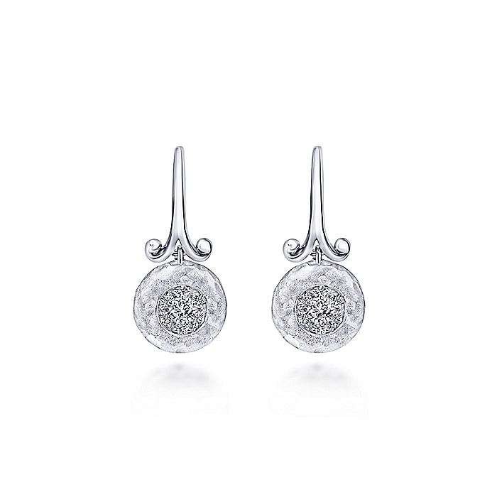 925 Sterling Silver Round White Sapphire Drop Earrings