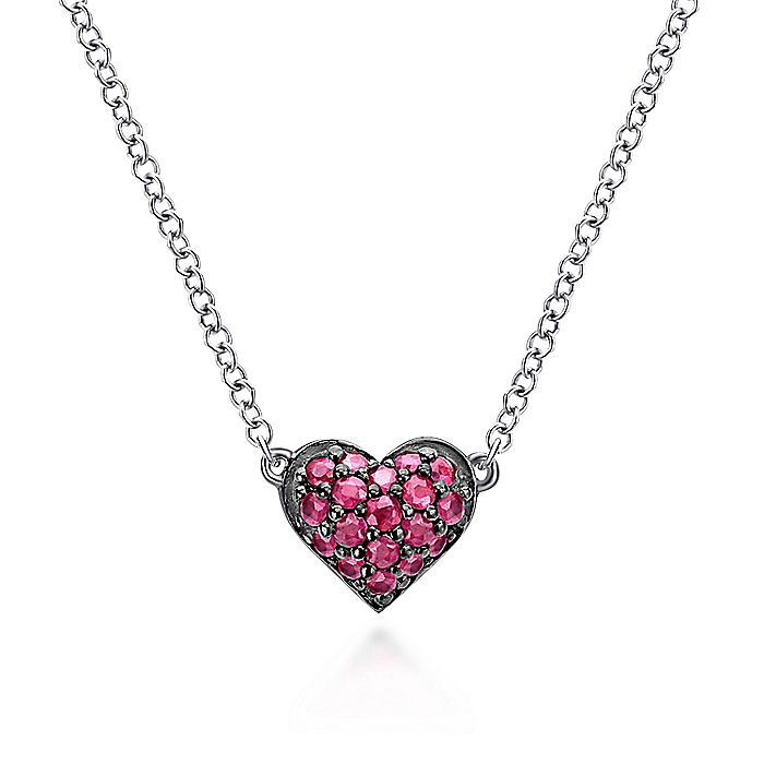 925 Sterling Silver Ruby Heart Pendant Necklace