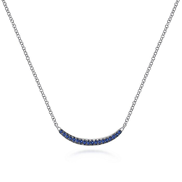 925 Sterling Silver Sapphire Curved Bar Necklace