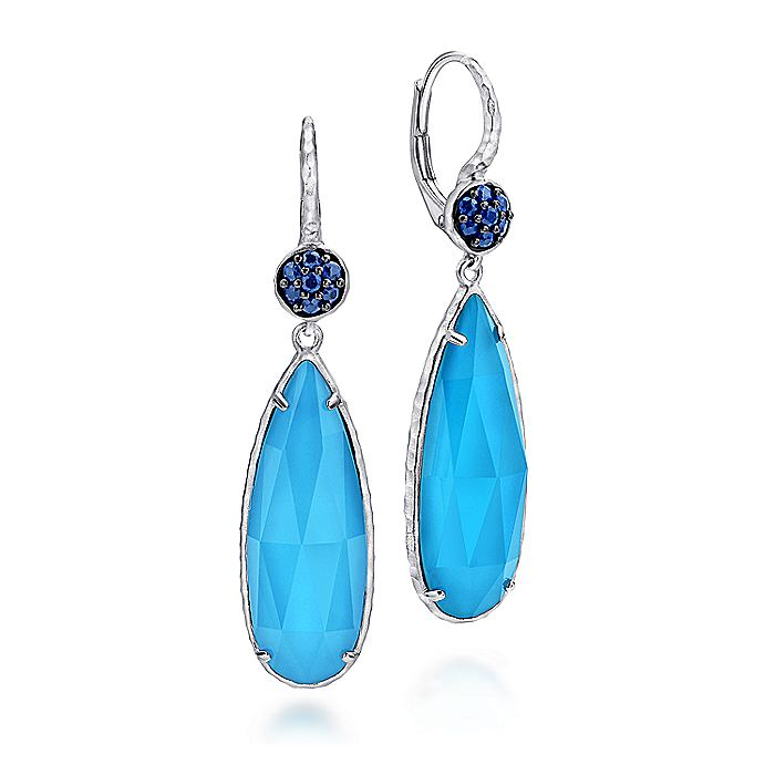 925 Sterling Silver Sapphire Earrings with Turquoise/Rock Crystal Teardrops