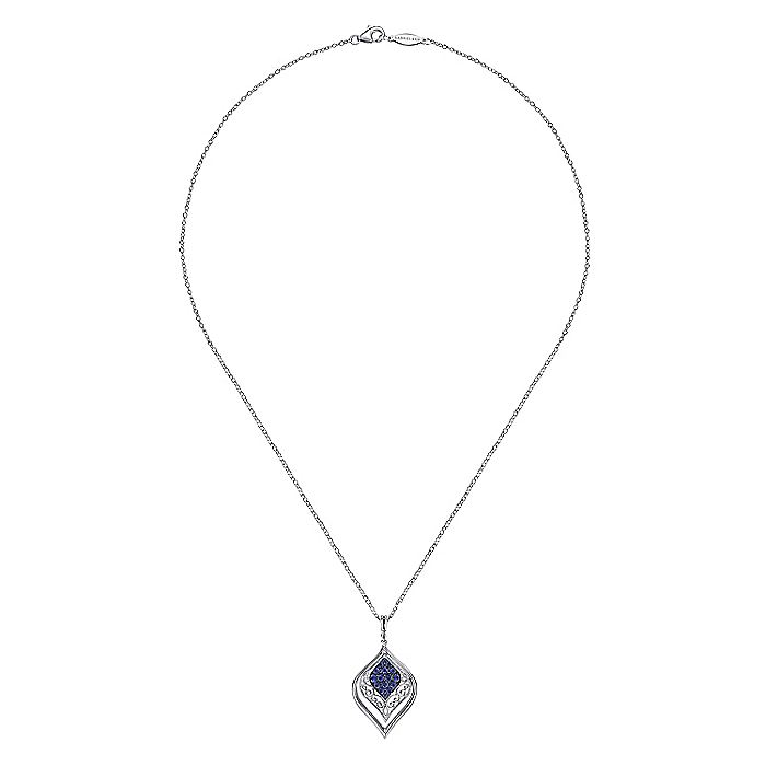 925 Sterling Silver Sapphire Marquise Shaped Filigree Pendant Necklace