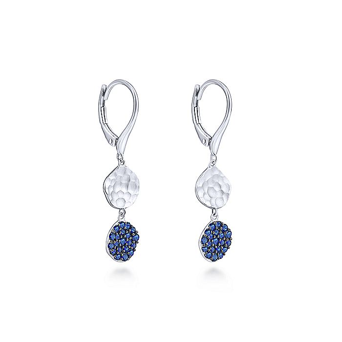 925 Sterling Silver Sapphire Pavé Hammered Disc Drop Earrings
