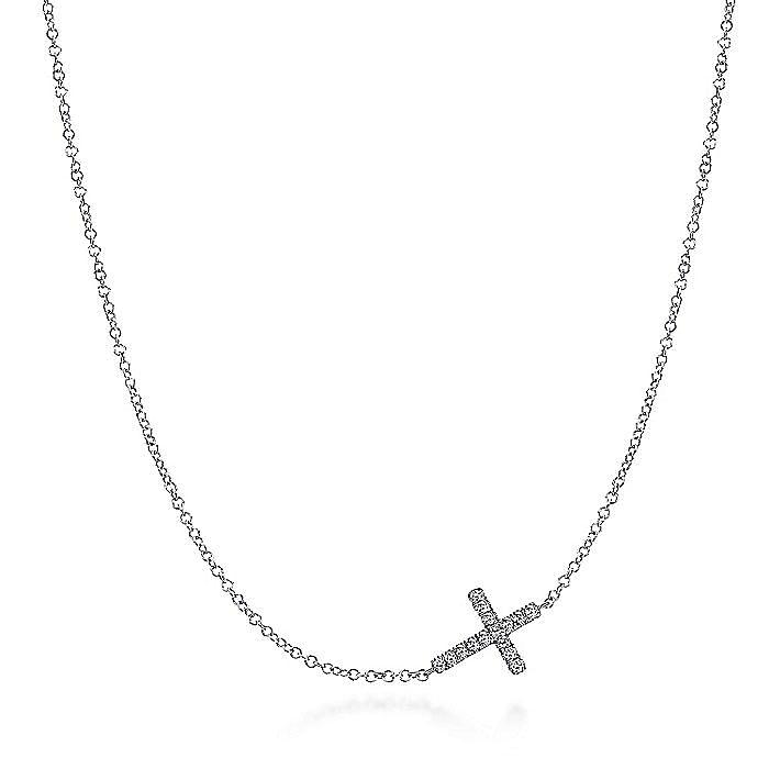 925 Sterling Silver Sideways White Sapphire Cross Necklace