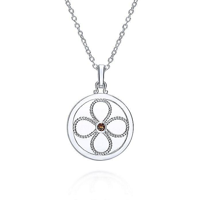 925 Sterling Silver Smoky Quartz Locket Necklace