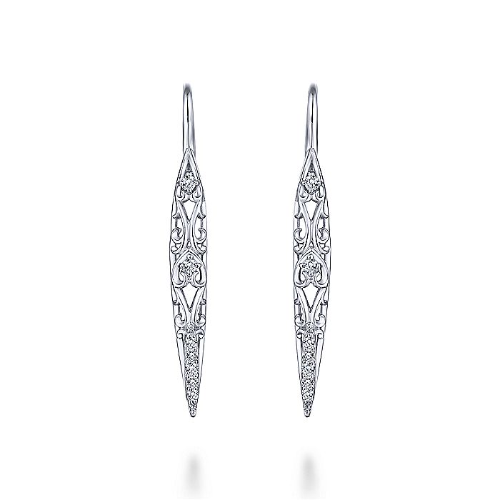 925 Sterling Silver Spiked Intricate White Sapphire Drop Earrings