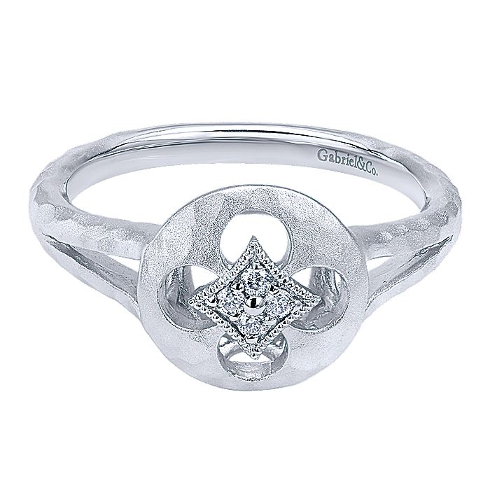 925 Sterling Silver Split Shank Round Quatrefoil Cutout Diamond Ring