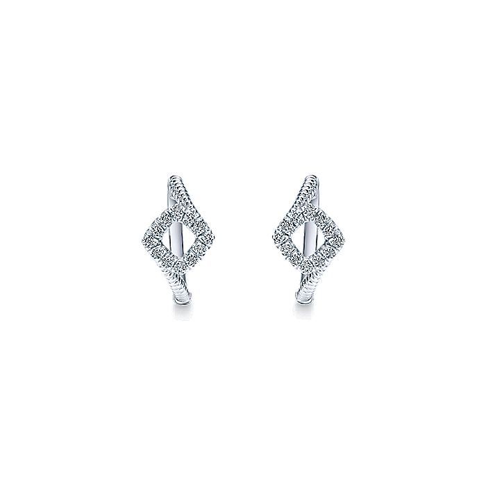 925 Sterling Silver Square 15mm White Sapphire Halo Huggie Earrings