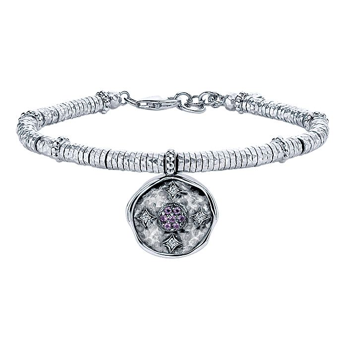 925 Sterling Silver-Stainless Steel Hammered Oxidation Amethyst and White Sapphire Bracelet