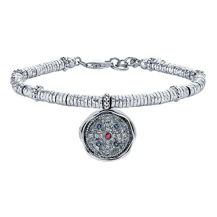 925 Sterling Silver-Stainless Steel Hammered Ruby and Sapphire and White Sapphire Charm Bracelet