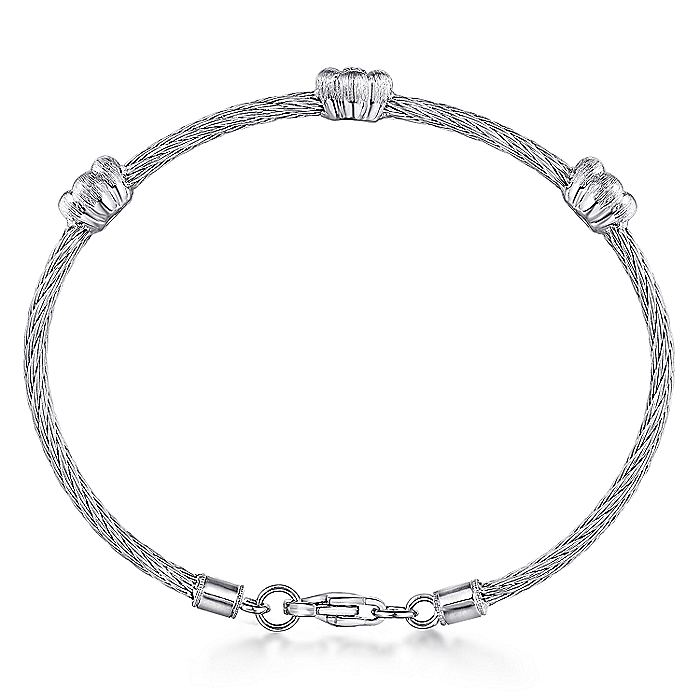 925 Sterling Silver-Stainless Steel Twisted Cable Bangle with 3 Flower Cluster Diamond Stations