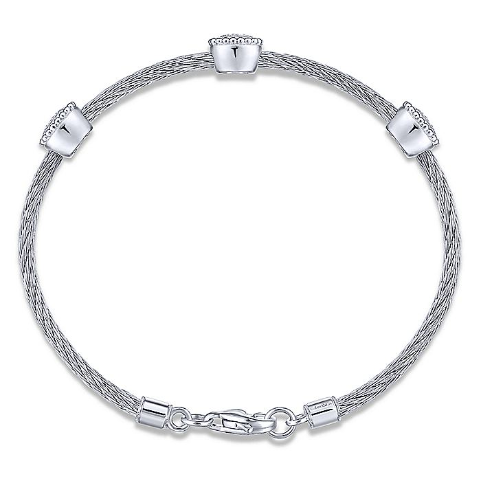925 Sterling Silver-Stainless Steel Twisted Cable Bangle with 3 Oval Cluster Diamond Stations