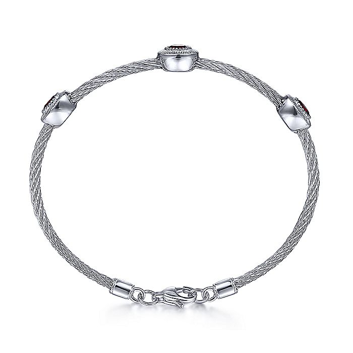 925 Sterling Silver-Stainless Steel Twisted Cable Bangle with 3 Oval Garnet Stations