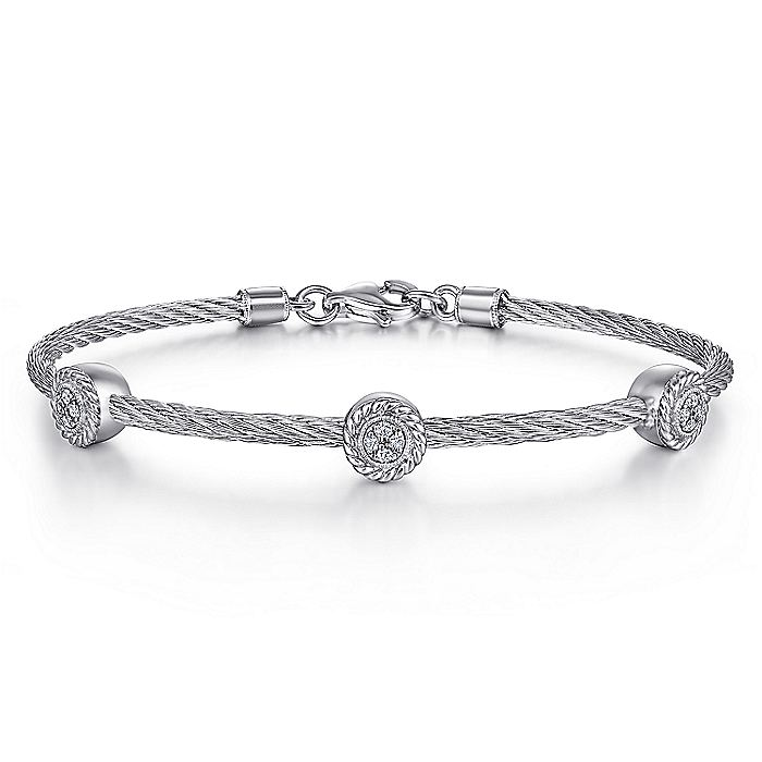 925 Sterling Silver-Stainless Steel Twisted Cable Bangle with 3 Round Cluster Diamond Stations
