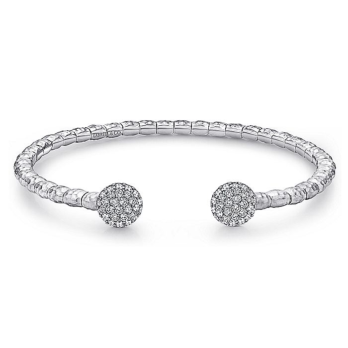 925 Sterling Silver-Stainless Steel White Sapphire Open Cuff Bangle
